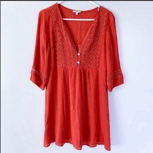Jodifl | Burnt Orange tunic with embroidered lace
